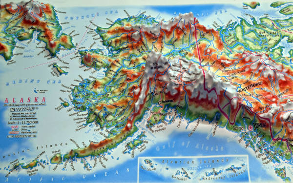 ALASKA 3D RELIEF MAP with panoramic effect