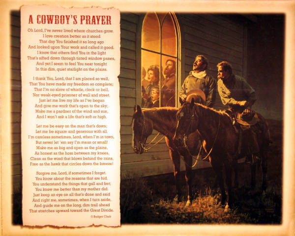 Cowboy Prayer Art Print Artist Don Spaulding Leanin