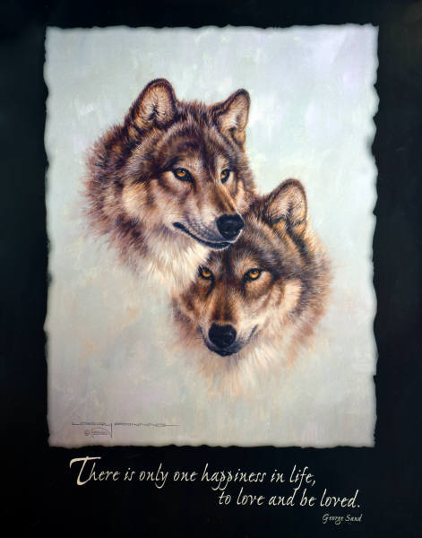 2000 GIFTS :: Forest Mates :: Leanin' Tree poster print by Larry Fanning (Two Wolves.)