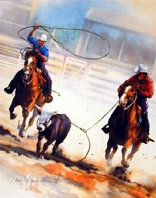 Team Ropin' Animal Rodeo. Impact Images poster 20441. Art by Dan McManis, 1994.