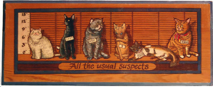 """Wooden Handpainted Wall Sign """"All the Usual Suspects"""""""