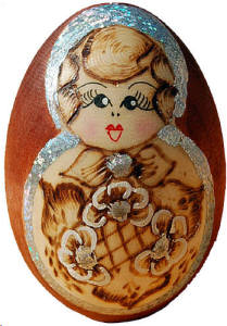 Russian Wooden Matryoshka Egg