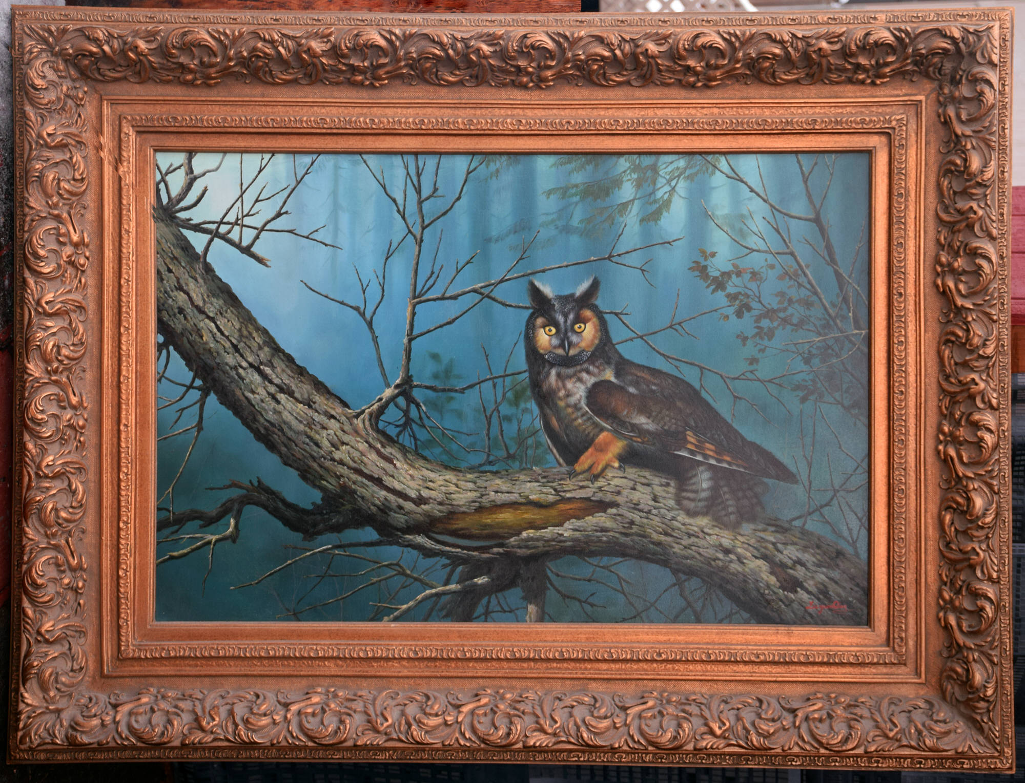 Luyuan Qing. Owl in the early morning forest. Size of picture 24-inch x 36-inch. Sold framed 37-inch x 49-inch. $3,995.